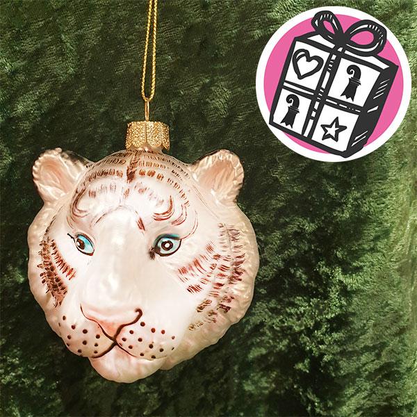 Geschenke Ideen, Geschenke Tipps, Geschnke Basel, Basel, johann wanner, Glasornamente, Tiger kopf, Tigerkopf ornament,Tiger, schweizer souvenier